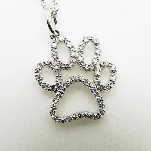 14k Diamond Paw Print Pendant