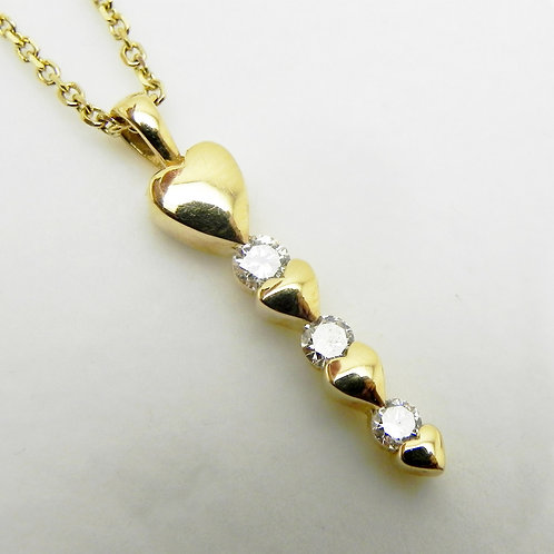 14k Diamond and Hearts Pendant