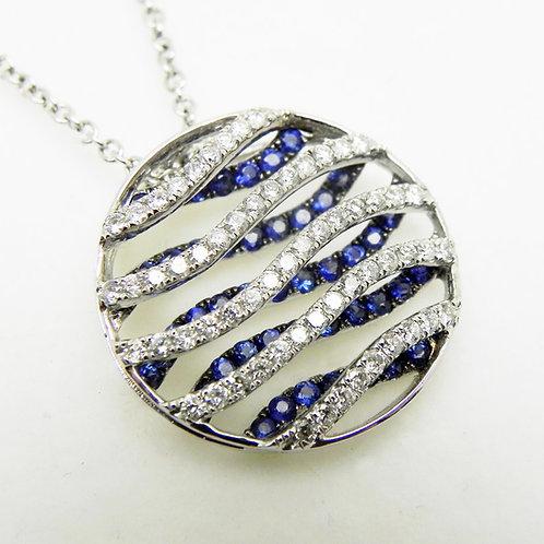 14k Sapphire and Diamond Cage Pendant