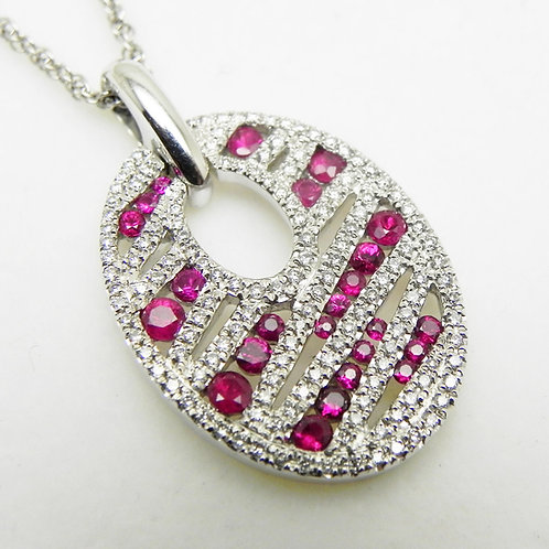 14k Ruby and Diamond Oval Pendant