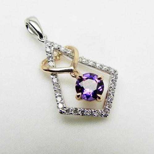 14k 2-tone Amethyst and Diamond Pendant