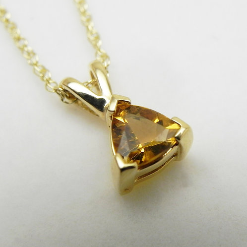 14k Trillion-Cut Citrine Pendant