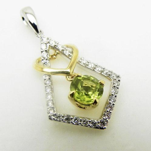 14k 2-Tone Peridot and Diamond Pendant