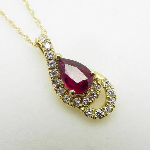 14k Ruby Pear and Diamond Pendant
