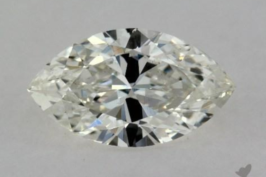 A loose marquise cut diamond displaying a severe bowtie, or dark section, in the middle.
