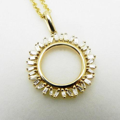 14k Diamond Sunburst Pendant
