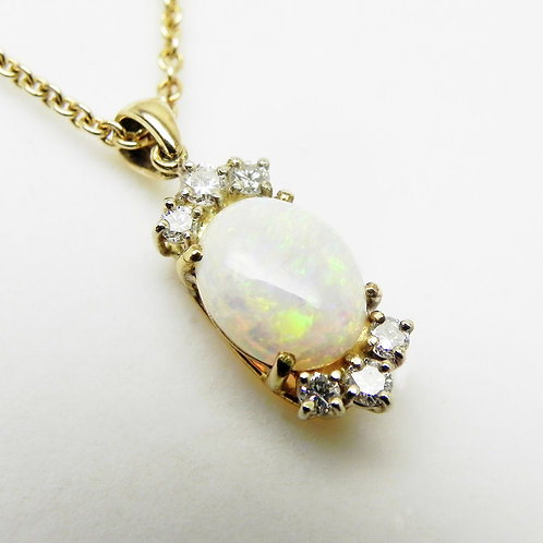 14k Diamond and Opal Pendant