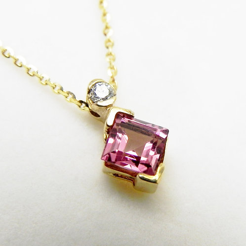 14k Diamond & Pink Tourmaline Pendant