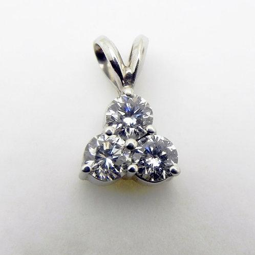 14k 3-Stone Diamond Pendant