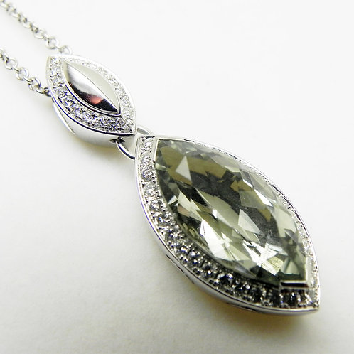 18k Green Amethyst Marquise Pendant
