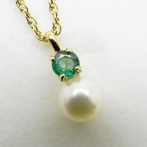 14k Emerald and Pearl Pendant
