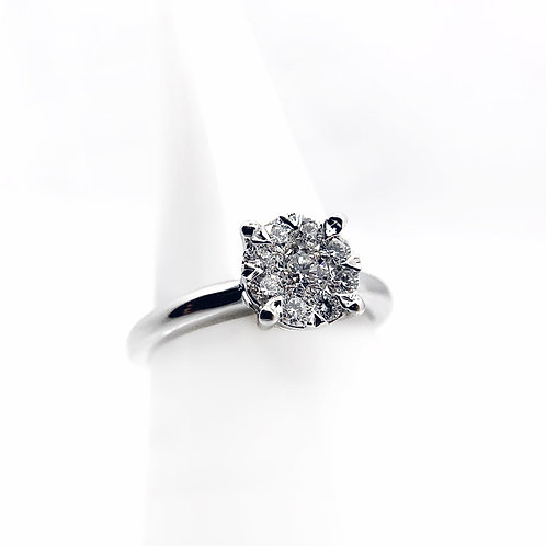14k .50cttw Cluster Diamond Engagement Ring