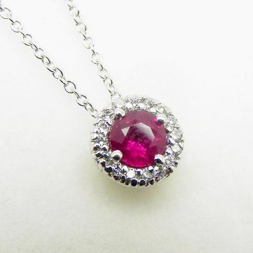 14k Ruby and Diamond Halo Pendant