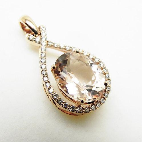14k Morganite and Diamond Pendant