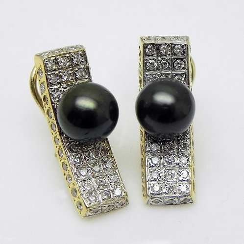 Custom Diamond and Pearl Earrings [ESTATE]