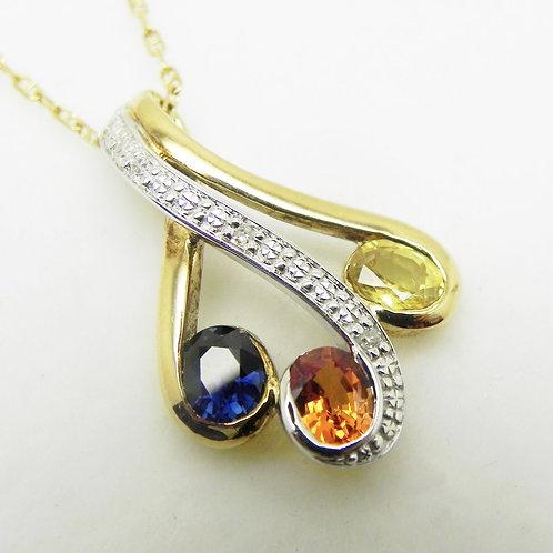 14k Multi-color Sapphire and Diamond Pendant