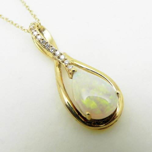14k Opal and Diamond Pendant
