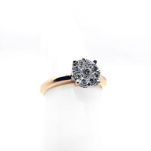 14k .50cttw Cluster Diamond Engagement Ring