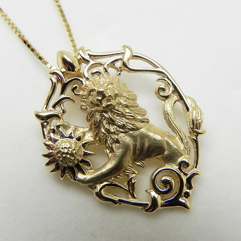 14k Lion and Sun Pendant