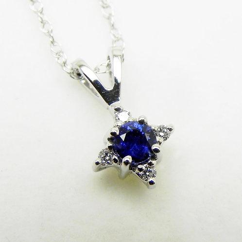 14k Sapphire and Diamond Star Pendant