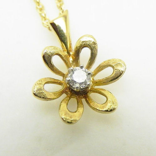 18k Diamond Flower Pendant
