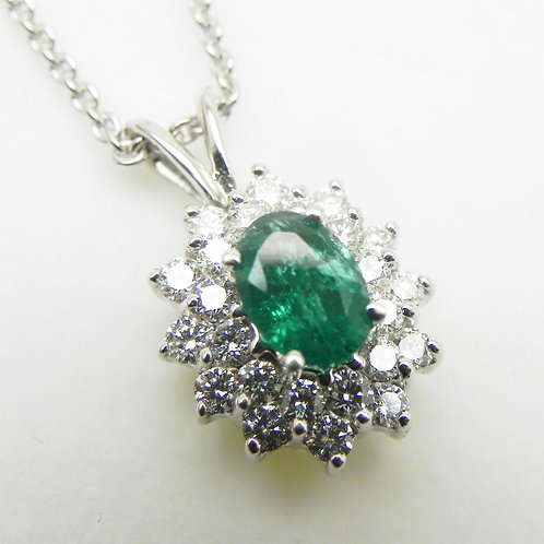 18k Emerald Double Halo Pendant