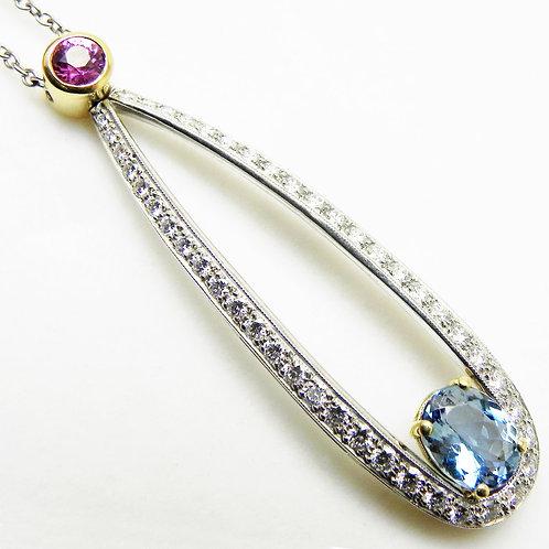 Platinum Aqua and Pink Sapphire Pendant