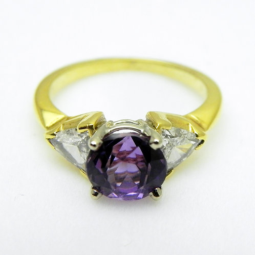 18k Amethyst & Diamond Ring [ESTATE]