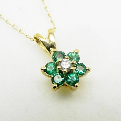 14k Emerald/Diamond Flower Pendant