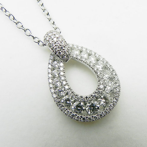 14k Oval Diamond Pendant