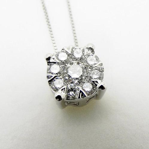 14k .50cttw Diamond Cluster Pendant