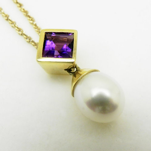 14k Amethyst and Pearl Pendant
