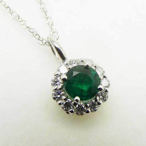 14k Emerald/Diamond Halo Pendant