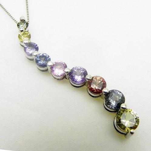 14k Multi-color Sapphire Journey Pendant