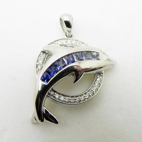 14k Diamond Dolphin Pendant