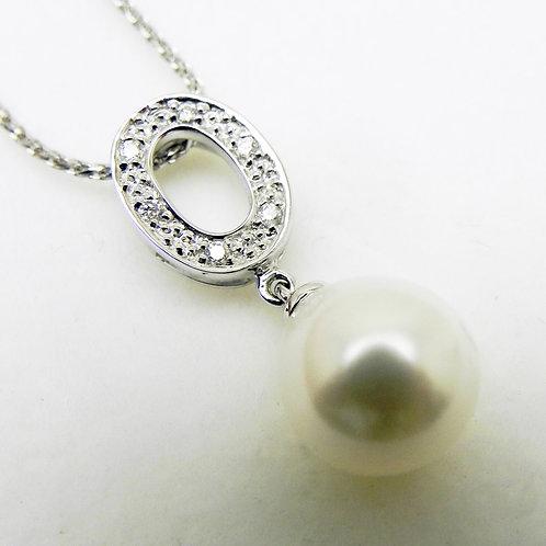 14K Diamond and Pearl Pendant
