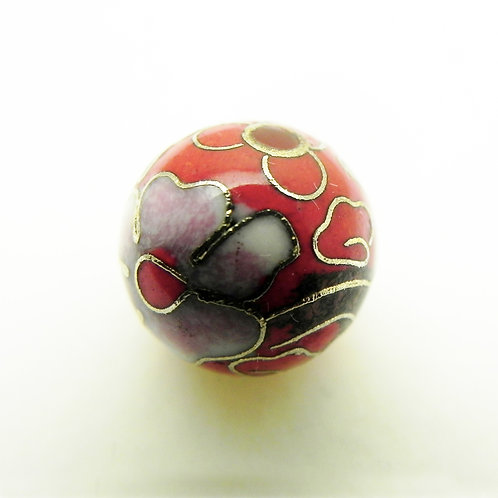 12mm Red Cloisonne