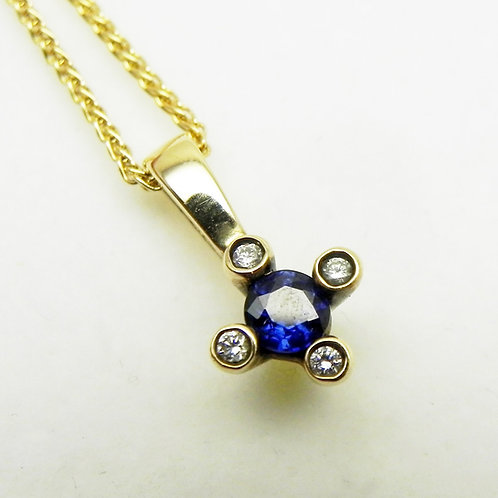 14k Sapphire and Diamond Bezel Pendant