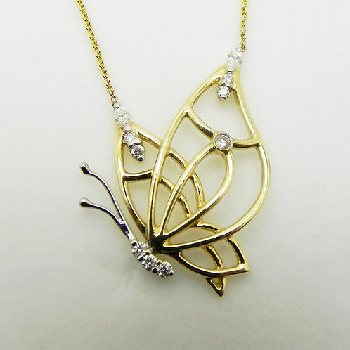 14k 2-Tone Diamond Butterfly Pendant