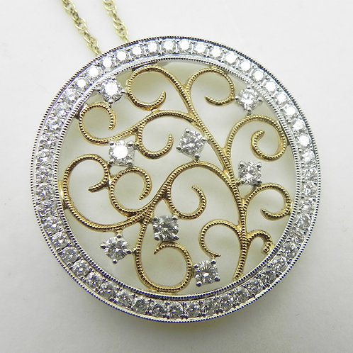 14k Diamond Medallion Pendant