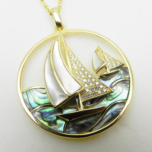 "14k Diamond ""Sailboats"" Pendant"