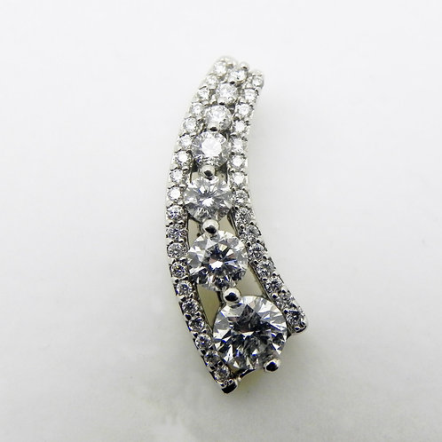 14k Curved Diamond Pendant