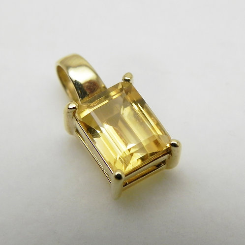 14k Emerald-Cut Citrine Pendant