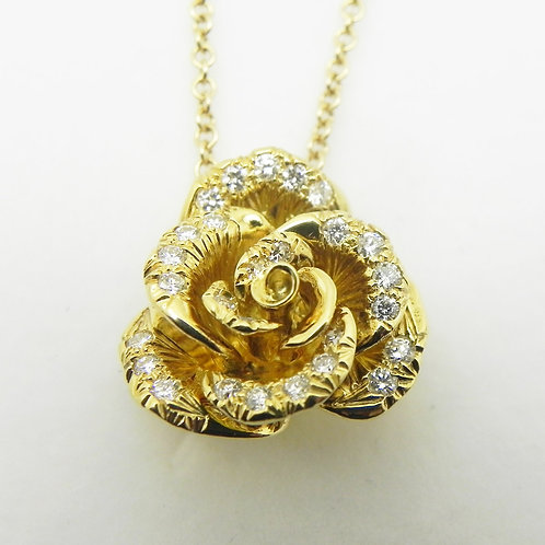 18k Diamond Rose Pendant