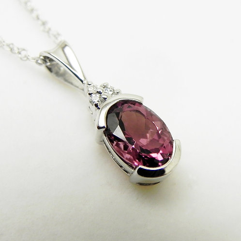 14k Pink Tourmaline and Diamond Pendant