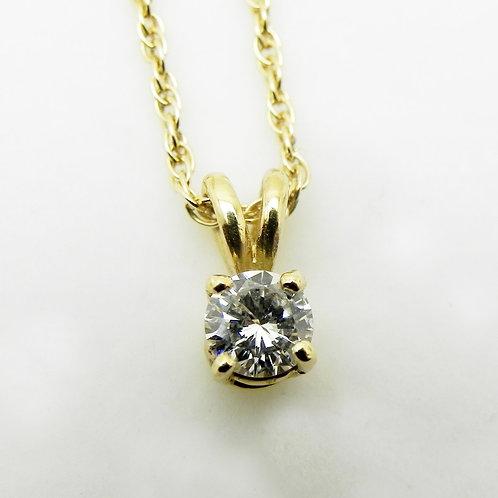 14k Diamond Solitaire Pendant