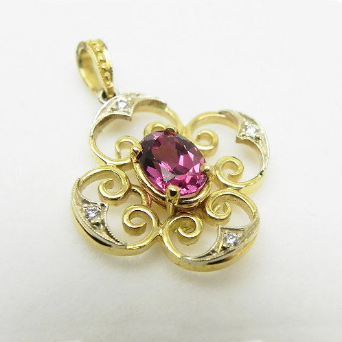 18k Pink Tourmaline & Diamond Pendant