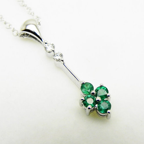 14k Emerald/Diamond Drop Pendant