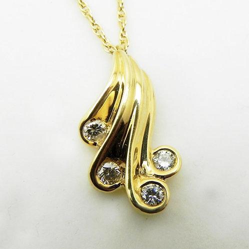 14k Diamond Swirl Pendant