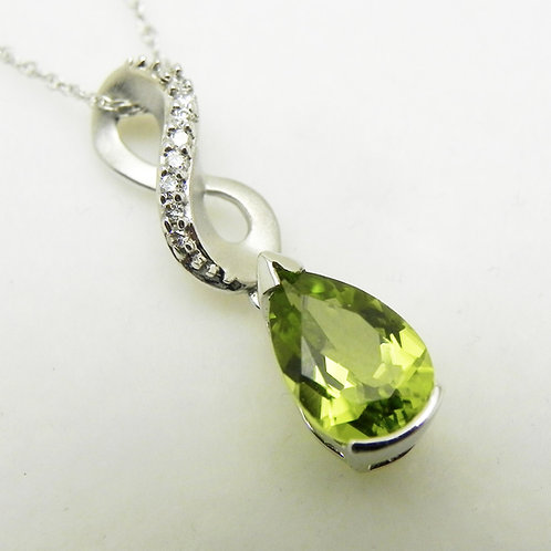 14k Peridot and Diamond Infinity Pendant